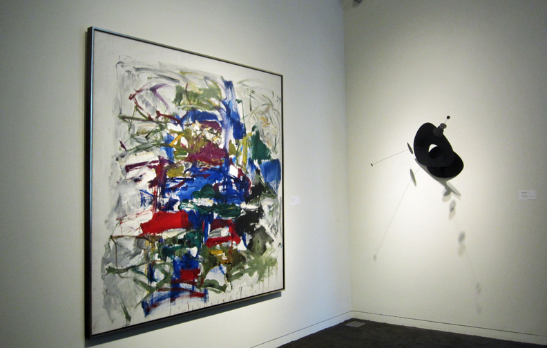 Joan Mitchell, left, and Calder, right