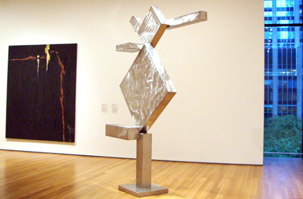 """1944-N No. 2"" by Still, left, and ""Cubi X"" by Smith, right"