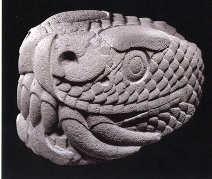 Aztec stone serpent head