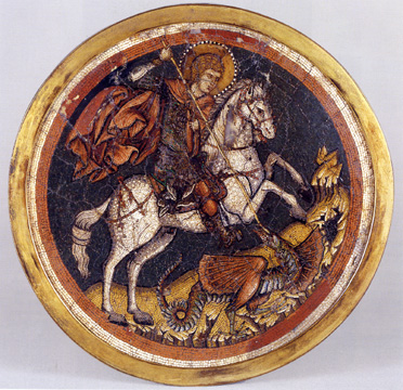 Mosaic icon with Saint George Slaying the Dragon