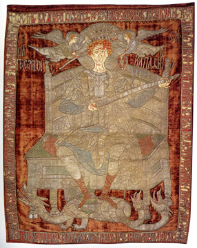 Embroidered Liturgical Standard with Saint George Seated on a Throne