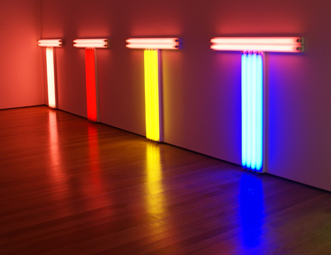 "Detail of ""Untitled (to Don Judd colorist)"" by Flavin"