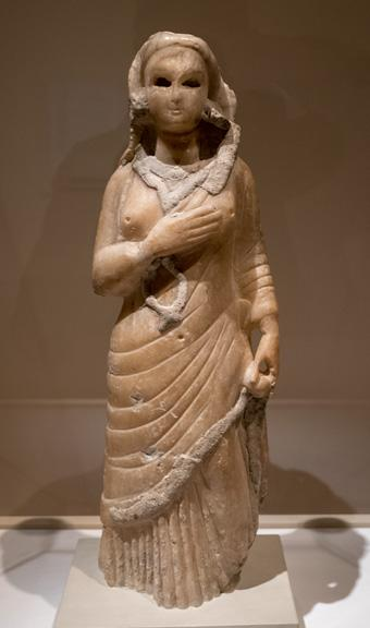 Standing marble figure of a woman