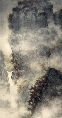 """Waterfall in Ravine"" by Li Huayi"