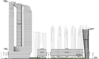 Drawing of Extell plan view from the north