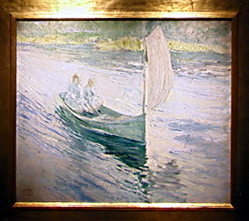 """Two Children in a Sailboat"" by John Twachtman"