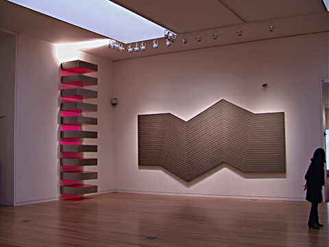 Sculpture by Donald Judd and painting by Frank Stella