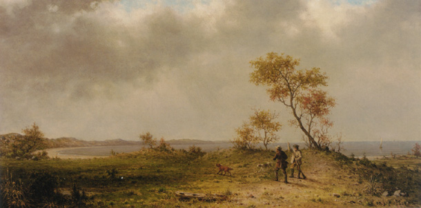 """Two Hunters in a Landscape"" by Heade"