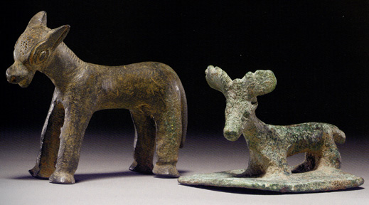Anatolian bronze donkey and Syrian bronze stag