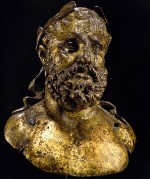 Roman gilt bronze bust of Hercules
