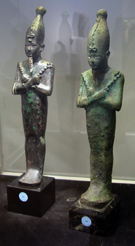 Two bronze statues of Osiris