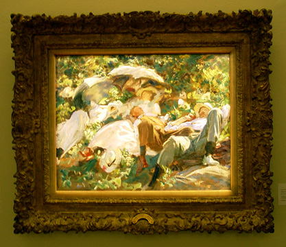 """Group with Parasols (A Siesta)"" by Sargent"