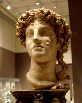 Roman marble head of Apollo
