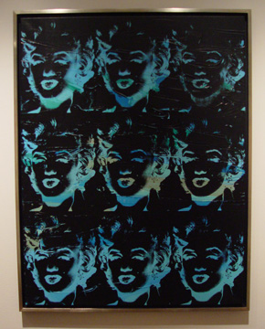 """Nine Blue Marilyn (Reversal Series)"" by Warhol"