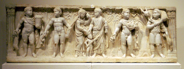 Roman marble marriage sarcophagus panel