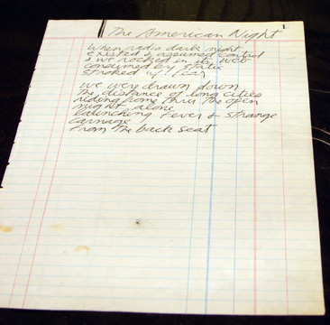 """The American Night,"" a handwritten poem by Jim Morrison"