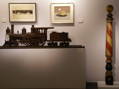 oak presentation model of a train and painted barber pole