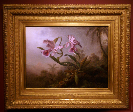 """Pink Orchids and Hummingbird on a Twig"" by Heade"