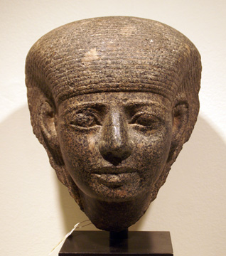Egyptian granite head of a goddess