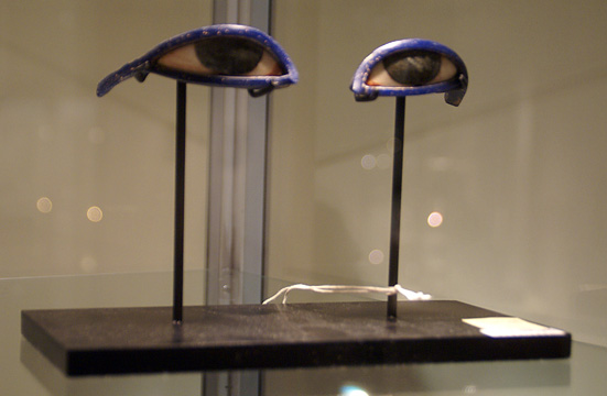 Pair of Egyptian glass eye inlays