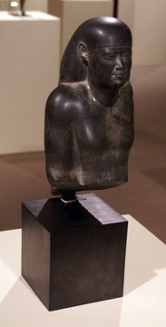 Egyptian black granite bust of an official