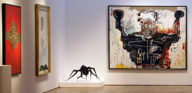 Works by Lucio Fontana, Francis Bacon, Louise Bourgeois and Jean MIchel Basquiat
