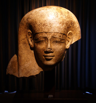 Egyptian head in indurated limestone