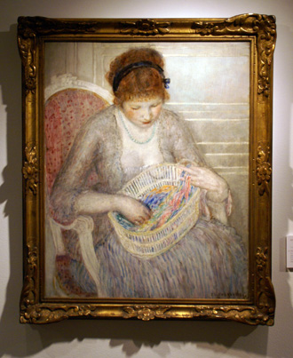 """Girl with a Basket of Ribbons"" by Frieseke"
