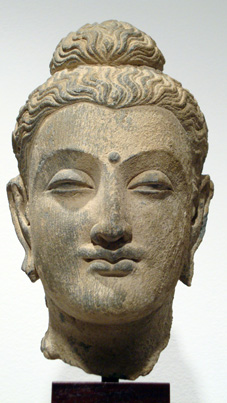 Gray Schist head of Buddha, Gandara, 2nd-3rd Century