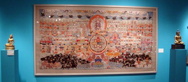 Silk applique thangka of offerings to Vajrabhairava