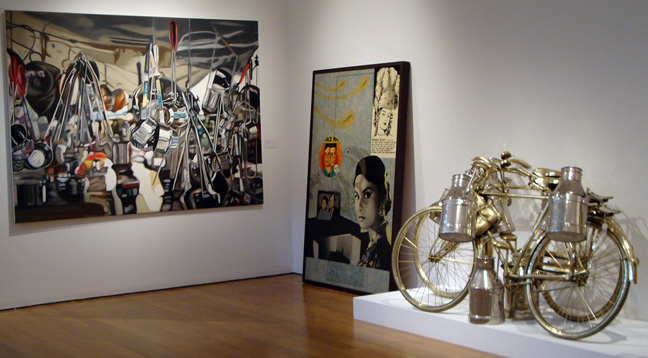 Untitled by Subodh Gupta, left; Karuna by Atul Dodiya, center; Two Cows by Subodh Gupta, right