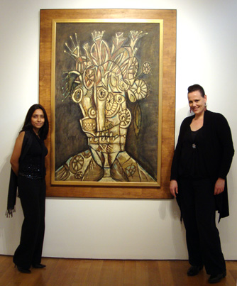 Deepamjana Klein of Christie's New York and Alexandra Gallery of Christie's London with Souza's untitled Large Head