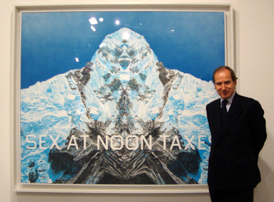 "Simon de Pury with Lot 115, ""Sex at Noon Taxes"" by Ruscha"