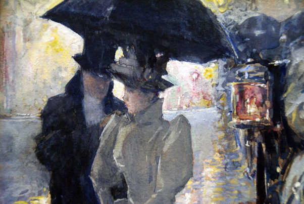 "Detail of ""Rainy Day, New York"" by Hassam"