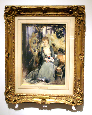 """Mrs. Reubell Seated in a Front of a Screen"" by Sargent"