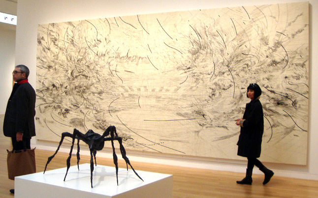 """Spider"" by Bourgeois, and """"The Seven Acts of Mercy"" by Mehretu"