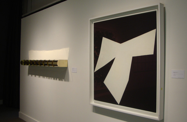 """Untitled"" by Judd, left, and ""Cowboy"" by Kelly, right"