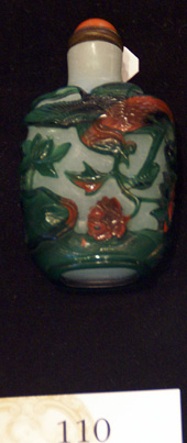 Three-color overlay glass snuff bottle
