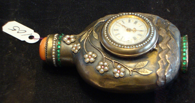 Rare bronze snuff bottle with watch and barometer mounts