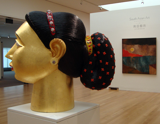 "Untitled head by Reddy, left, ""Metascape"" by Padamsee, right"