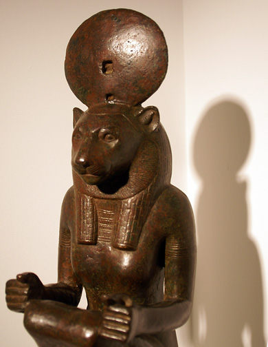 Detail of Egyptian lion statue