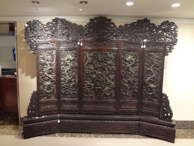 Five-panel jade-inlaid hardwood throne screen