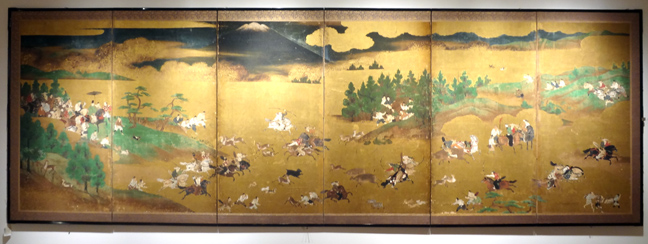 Screen depicting deer-hunting at Mt. Fuji
