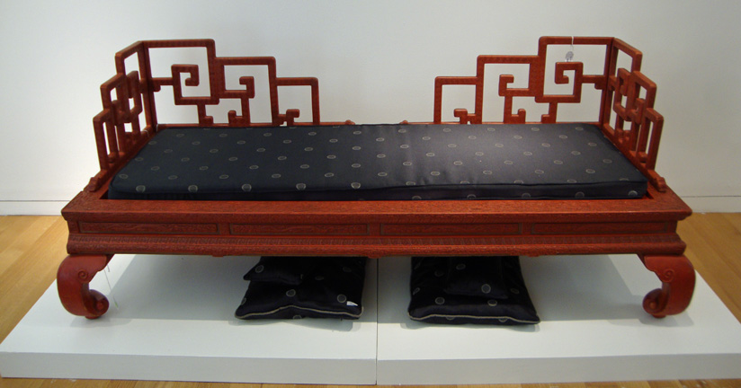Imperial carved cinnabar lacquer low-backbed (Luohan Chuang)