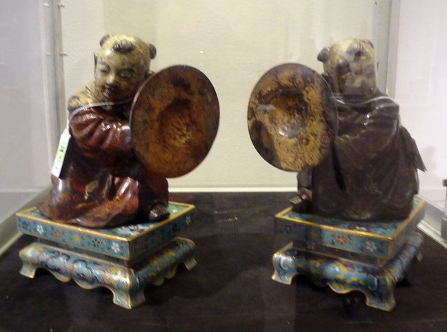Pair of Lacquered Bronze Figures of Kneeling Boys