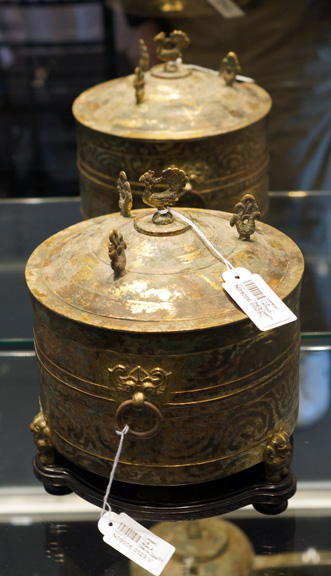 Silver and gilt cylindrical vessel
