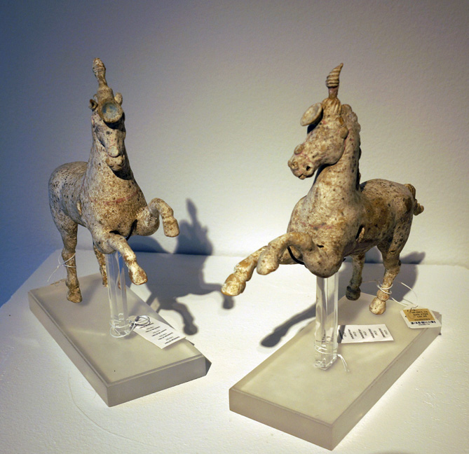 Two pottery horses