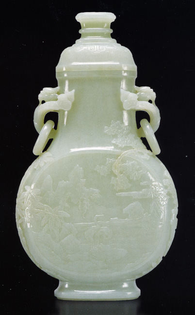 Celadon crane and deer vase