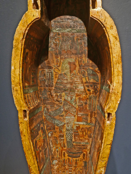 Detail of trough inside the coffin