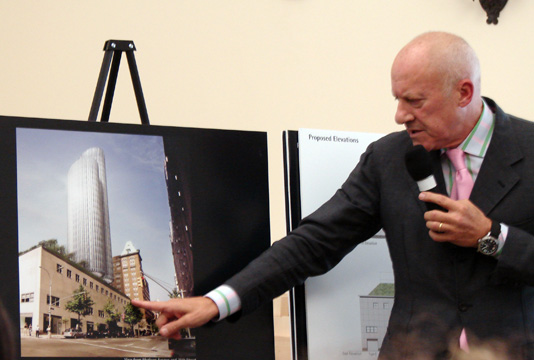 Lord Norman Foster pointed to rendering of new tower